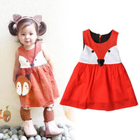Ins Girls Jumpsuits Dresses Fox Cartoon Sleeveless Baby Kids...