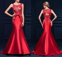 Elegantes vestidos de noche de sirena de encaje rojo palabra de longitud por encargo vestido de fiesta de encaje hasta espalda alta calidad vestido de ocasión especial