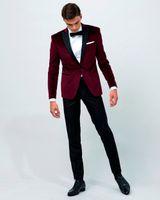 Airtailors винтаж Бархатное вино Red Peak отворот смокинг / свадебный костюм для мужчин / одежда для жениха на заказ (куртка + брюки + лук)