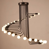 L3- Creative Art Loft Retro Spiral Stairs Chandelier Living R...