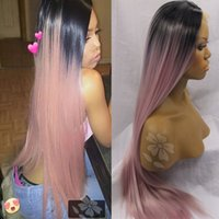 Cheap Ombre Wigs Two Tone Natural Black Ombre Pink Long Silk...