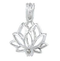 925 Gabbia per medaglioni in argento, Forma di loto Perla perline perline Ciondolo gabbia, può aprire la sterling argento pendente Montaggio di gioielli fai da te