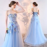 SSYFashion 2017 Light Blue Strapless Lace Flower Evening Dre...