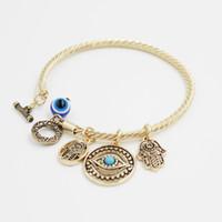 Turkije Evil Eye Charms Bangle Armbanden Golden Armbanden en Charms Toggle-Clasps