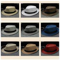 رواج الرجال النساء القطن الكتان قبعات القش القبعات الناعمة فيدورا بنما outdoor بخيل حافة قبعات 34 ألوان LC612