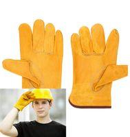 Arbeitsschutzhandschuhe Sicherheit Schweißen Leder Handschuhfrei Gelb Farbe Größe L Arbeiterhände schützen Baustelle out52
