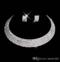 15035 Designer Sexy Men-Made Diamant Örhängen Halsband Party Prom Formell Bröllop Smycken Set Bröllop Tillbehör Gratis Frakt i lager