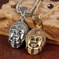 الذهب / الفضة بوذا قلادة قلادة مجوهرات الفولاذ المقاوم للصدأ للرجال هدايا مع سلسلة مجانية 22 '' * 3 ملليمتر رولو سلسلة
