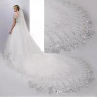 Novas Imagens Reais Barato 4 Metros Longos Véus de Noiva Uma Camada de Branco ou Marfim com Apliques de Lantejoulas Véus De Noiva com Pente Tamanho 400 * 180 cm