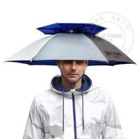 360 derece Tüm yuvarlak Profesyonel Şemsiye şapka çift katmanlı açık anti-uv şemsiye kap rüzgar geçirmez şemsiye şapka balıkçılık için shutterbug