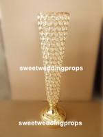 Çin Popüler toptan TEMIZLE CAM kristal dekoratif uzun trompet cam vazo OLAY DEKORASYONU IÇIN