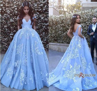 Sheer Ice Blue Lace Formal Prom Dresses Long 2019 With Sexy ...
