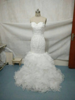 Real Photo Custom Made Elegant Mermaid Lace Ruched Wedding D...