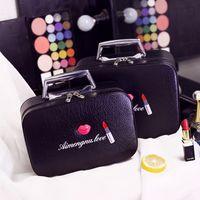 2017 moda bocca cosmetica sacchetto cosmetico caso di alta qualità di viaggio in pelle pu sacchetto cosmetico pacchetto di immagazzinaggio impermeabile fatto a mano sacchetto di scatola rosa