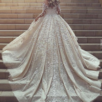 Disse Mhmad Glamorous Wedding Dress Sheer Jewel Neck Applique Manga comprida Vestidos de casamento de renda 2017 New Arrival Amazing Sexy Bridal Dresses
