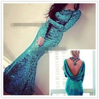 2016 Peacock Blue Sparkly Sequins Long Sleeve Cowl Back merm...