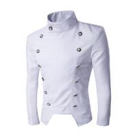 도매 - 재킷 남자 2016 정장 재킷 블레이저 Masculino 신랑 더블 브레스트 패션 슬림 피트 남성 무대 의류 chaquetas 2016 년을 아저씨
