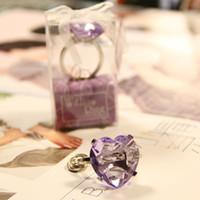 낭만적 인 심장 모양의 반지 핑크 다이아몬드 키 체인 키 반지 웨딩 파티 호의 및 게스트 ZA4438에 대 한 선물