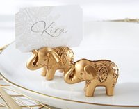 Wedding Party Decoration Favor - Lucky Golden Elephant Place Name Card Uchwyt Tabela Dekoracji 100 sztuk / partia