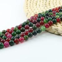 Naturlig rund Tourmaline Agat Gemstone Loose Pärlor i Bulk Pärlor för smycken Making 4/6/8 / 10mm Strand 15 tum per uppsättning L0579 #
