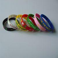 10 Pçs / lote Mix cores hot venda debossed e tinta preenchido braceletes de silicone para brindes promocionais Y030301