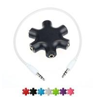 6ports ABS Yardımcı Yönlendirici 3.5mm kadın kulaklık jakı dönüştürücü Aux Stereo splitter Ses müzik mikser ses çalar cihazlar için
