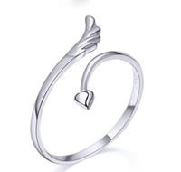 Amor Coração Anéis Casais Amantes Anéis de Dedo Bague Tamanho Ajustável 925 Stering Anel de Prata Moda Exquisite Anjo Asa Anel Aberto Jewellry