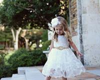 2019 YENI Cadılar Bayramı Paskalya Doğum Günü Çiçek Kız Elbise, Rustik Dantel Çiçek Kız Elbise, bebek dantel elbise,, Yürüyor Elbiseler, Ülke Dres