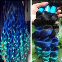 Vierge 9A # 1B bleu vert trame de cheveux humains sombre racine lâche vague extension de cheveux Ombre couleur 1B bleu vert cheveux 3 faisceaux