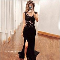2017 Sexy Long Black Mermaid Prom Dress Appliques Lace Side Slit Formal Evening Party Gown Custom Made Plus Size