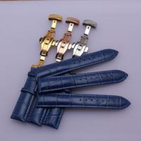 14mm 16mm 18mm 19mm 20mm Yeni Mavi Timsah Tahıl Hakiki Deri Watch Band Kayışı Bilezikler Altın Kelebek Toka Toka erkekler kadınlar moda