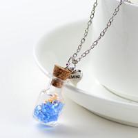 Original Driften Flasche Lively Pendent Platz Glas Halskette Kreative Natur Drift Sand Frauen Trockene Blumen-Halskette Mädchen Weihnachtsgeschenk
