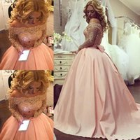 Sparkly Blush Pink Long Ball Gowns Prom Dresses 2017 Beaded Crystal Lace Off Shoulder Long Sleeves Formal Evening Party Gowns