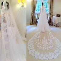 Kathedrale Länge Lange Hochzeitsschleier Spitze Weiße Tüll Brautschleier Bridal Zubehör Vintage Spitze Appliques Eine Ebene