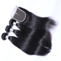 Bundles de cabelo brasileiro pacotes de onda corporal com fecho 10-28 Duplo de trama reta extensões de cabelo humano touros de tecidos térle