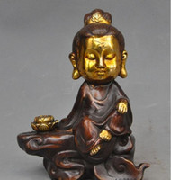 De Noel Vieux Chinois Bouddhisme Joss bronce Cuivre Dore, kwan Yin - estatuto de Guanyin Deesse Halloween