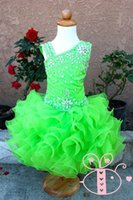 Sfilata verde moderno Pageant Glitz Cupcake Pageant Dress Ruffed Beaded Organza Cute Toddler Pageant Ball Gown Dresses