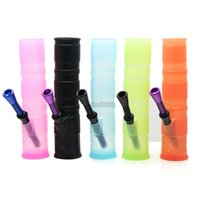 Unbreakable collapsible silicone water smoking hand pipe for...