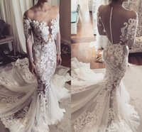 Long Sleeves Mermaid Lace Wedding Dresses 2017 Sheer Necklin...