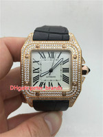 Diamonds rose gold stainless steel case watch fashion brand ...