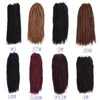 크로 셰 뜨개질 헤어 익스텐션 18 인치 90 루츠 / 팩 합성 머리카락 200G 1 피스 전용 8 색 크로 셰 뜨개질 머리카락 머리카락