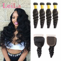 Peruvian 5pieces lot Virgin Hair bundles with Lace Closure L...
