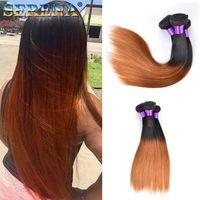 Grado 7A paquetes rectos brasileños Ombre extensiones de cabello humano 3Pcs # 1B 30 Honey Blonde Dark Roots Ombre paquetes de armadura brasileña del cabello humano