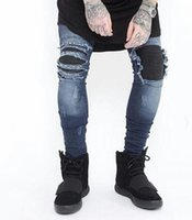 Draped Jeans for Mens Clothing Biker Jeans Spring Autumn Fas...