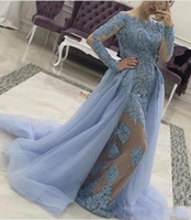 Long Sleeves Overskirts Dresses Evening Wear 2019 Sheer Neck Appliques Beads Mermaid Modest Arabic Light Sky Blue Prom Party Gowns Custom