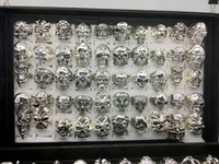 Wholesale 50pcs lot Gothic Big Skull Ring Bohemian Punk Vint...