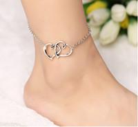 Kalp Charm Ayak Bileği Bilezikler Antik Gümüş Kaplama Ayak Zinciri Plaj Ayak Sandal Halhal Ayak Bileği Bilezik Ayak Zinciri