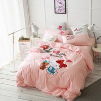 8 Photos Wholesale Dog Print Bed Sheets   Animal Pink Dog Cat Cotton  Comfortable Queen King Comforter Sets