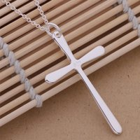 Popular Jewelry 925 Silver Long Cross Pendant Chains Necklac...