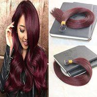 Micro Nano Rings Hair Extension de calidad superior 99j doble dibujado Extensiones de cabello humano 14 '' - 24 '' 1g / strand 100strands